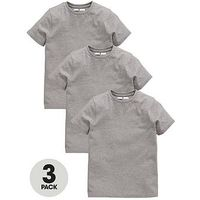 V by Very Schoolwear Boys Pk3 Sports Tees, Grey, Size Age: 8-9 Years