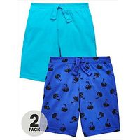 Mini V by Very Toddler Boys 2pk Aop Printed Jersey Shorts, Turquoise/Blue, Size Age: 2-3 Years
