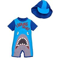 Mini V by Very Toddler Boys Hungry Shark Sunsafe & Hat, Multi, Size Age: 18-24 Months