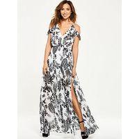 Myleene Klass Cold Shoulder Tropical Maxi Dress, Print, Size 10, Women