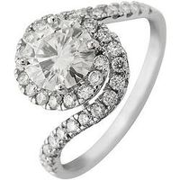 Moissanite Moissanite 9ct Gold 7mm Centre 1.80ct total twisted halo ring, White Gold, Size L, Women