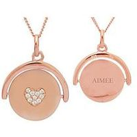 KeepSafe Sterling Silver rose gold plated cubic zirconia heart personalised Spinner Pendant, One Colour, Women