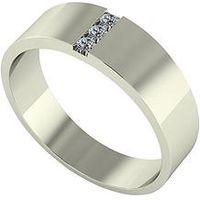 Love DIAMOND 9ct Gold Diamond Set Band Ring, White Gold, Size U, Women