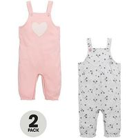 Mini V by Very Baby Girls Heart and Flower Dungarees (2 Pack), Pink/Cream, Size Age(Months): 9-12 Months (22Lbs)