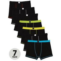 V by Very Boys Black Trunks (7 Pack), Black, Size 14 Years