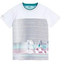 Baker by Ted Baker Boys Stripe Graphic Logo T-Shirt, White, Size 12-18 Months