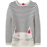 Joules Girls Winnie Cat Jumper, Stripe, Size Age: 6 Years, Women