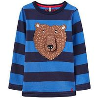 Joules Boys Chomp Applique Long Sleeve T-Shirt, Navy Stripe, Size 3 Years, Women