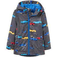 Joules Boys Skipper Waterproof Rubber Coat, Navy Stripe, Size Age: 2 Years