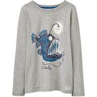 Joules Boys Raymond Glow In The Dark Long Sleeve T-shirt, Grey Marl, Size 6 Years
