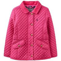 Joules Girls Newdale Quilted Jacket, Fuchsia, Size 7-8 Years, Women