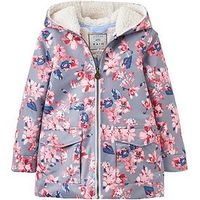 Joules Girls Floral Raindrop Waterproof Coat, Grey Floral, Size 11-12 Years, Women