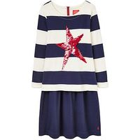 Joules Girls Lucy Sequin Sweatshirt Dress, Navy, Size 6 Years, Women