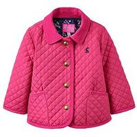 Joules Baby Girls Mabel Quilted Jacket, Bright Pink, Size 0-3 Months