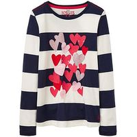 Joules Girls Ava Heart Applique Long Sleeve T-shirt, Navy Stripe, Size Age: 4 Years, Women