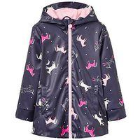 Joules Girls Raindance Printed Rubber Coat, Navy Print, Size 1 Year, Women