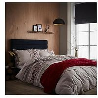 Catherine Lansfield Brushed Printed Knit Duvet Cover Set