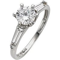Love GEM 9 Carat White Gold CZ Solitaire Ring with Graduated Stone Set Shoulders, Size M, Women