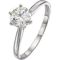 Moissanite 18 Carat White Gold 50pt Equivalent Moissanite Solitaire Ring, Size J, Women