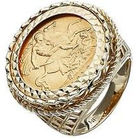 Love GOLD 9 Carat Yellow Gold Half Sovereign Mens Ring, Size T, Men