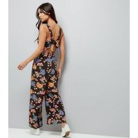 Tall Black Floral Tie Back Jumpsuit New Look