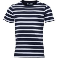 Fluid Mens Striped T-Shirt Navy/White