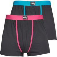 Kangaroo Poo Mens Two Pack Boxers Black/Turquoise/Hot Pink