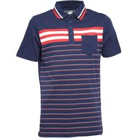 Kangaroo Poo Mens Striped Polo Navy