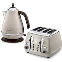 DeLonghi Icona Vintage 4 Slice Toaster and Kettle Bundle - Beige