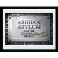 DC Comics Batman Comic Arkham Asylum Sign - Framed Photographic - 16 x 12inch