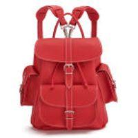 Grafea Red Hot Medium Leather Rucksack - Red