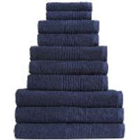 Highams 100% Egyptian Cotton 10 Piece Towel Bale (550gsm) - Navy