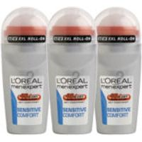 LOreal Paris Men Expert Sensitive Comfort Deodorant Roll-On (50ml) Trio