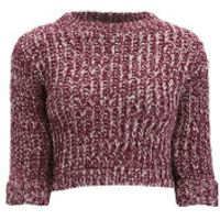 Girls On Film Womens Chunky Knit Jumper - Burgundy - UK 14