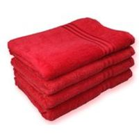Restmor 100% Egyptian Cotton 4 Pack Bath Sheets - (500gsm) Red