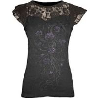 Spiral Womens ENTWINED Lace Layered Cap Sleeve Top - Black - S