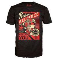 Star Wars The Force Awakens Poe Propaganda Pop! T-Shirt - Black - M