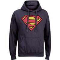 DC Comics Mens Superman Distress Logo Hoody - Petrol Blue - S