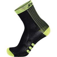 Santini Two Medium Profile Socks - Black/Yellow - XS-S