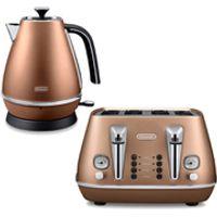 DeLonghi Distinta 4 Slice Toaster and Kettle Bundle - Copper Finish