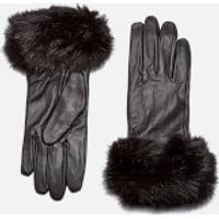 Barbour Womens Faux Fur Trimmed Leather Gloves - Black - Large