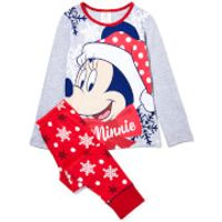 Disney Girls Mini Mouse Print Pyjamas - Red - 5-6 years