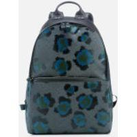 KENZO Mens Leopard Print Backpack - Black Green