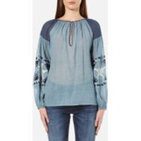 Maison Scotch Womens Sheer Cotton Tunic Top with Special Embroideries - Blue - UK 8-10/1-2