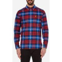 Lyle & Scott Mens Check Flannel Shirt - Navy/Red - XXL