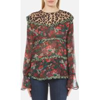 Maison Scotch Womens Mixed Print Top with Ruffle Details - Multi - 1/UK 8
