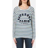 Superdry Womens Applique Raglan Long Sleeve T-Shirt - Off White/Blue Stripe - L