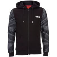 DFND Mens Dismissed Contrast Sleeve Logo Hoody - Black - M