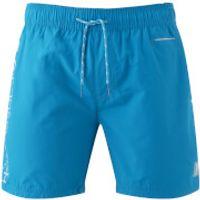 Crosshatch Mens Jennis Logo Swim Shorts - Blue Jewel - L - Blue