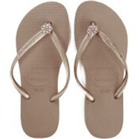 Havaianas Womens Slim Swarovski Crystal Poem Flip Flops - Rose Gold - EU 41-42/UK 8-9